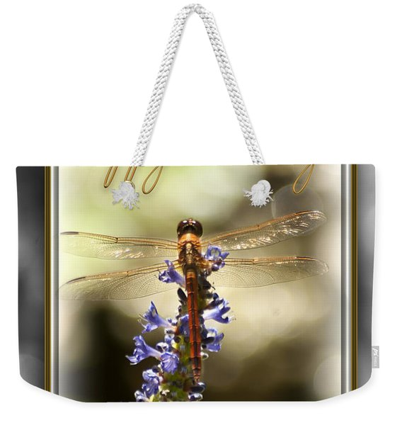Weekender Tote Bag featuring the photograph Dragonfly Birthday Card by Carolyn Marshall