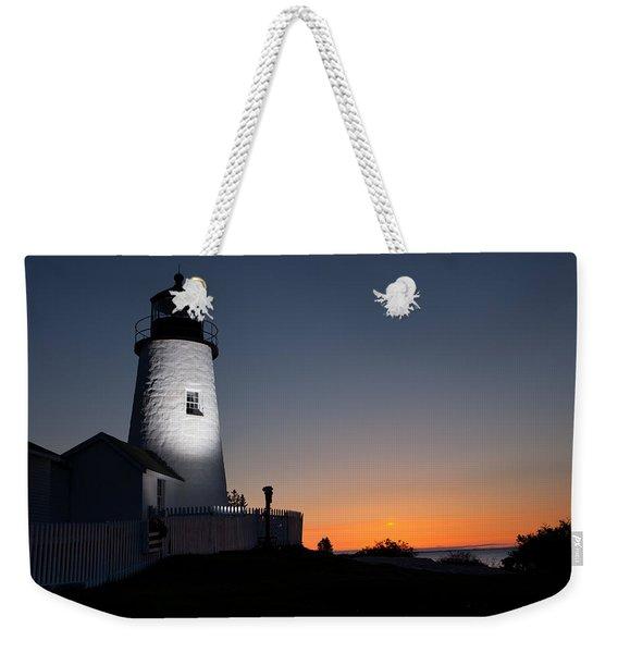 Dramatic Lighthouse Sunrise Weekender Tote Bag