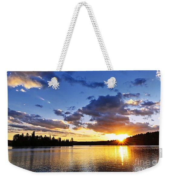 Dramatic Sunset At Lake Weekender Tote Bag