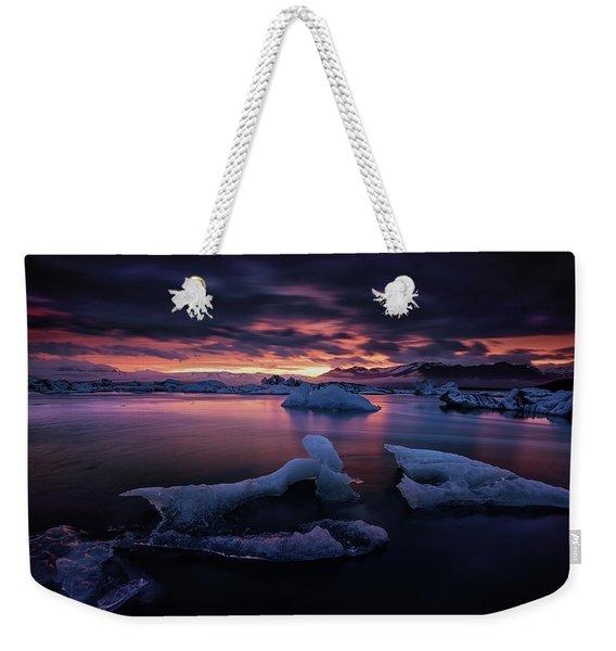 Dramatic Sunset Over Glacier Bay Weekender Tote Bag