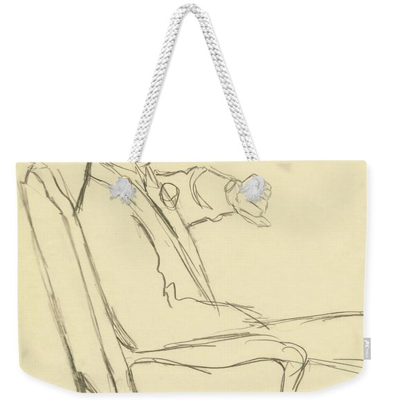 Drawing Of Man Looking At His Watch Weekender Tote Bag