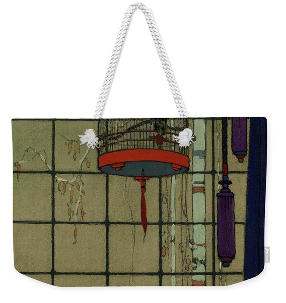 Drawing Of A Bid In A Cage In Front Of A Window Weekender Tote Bag