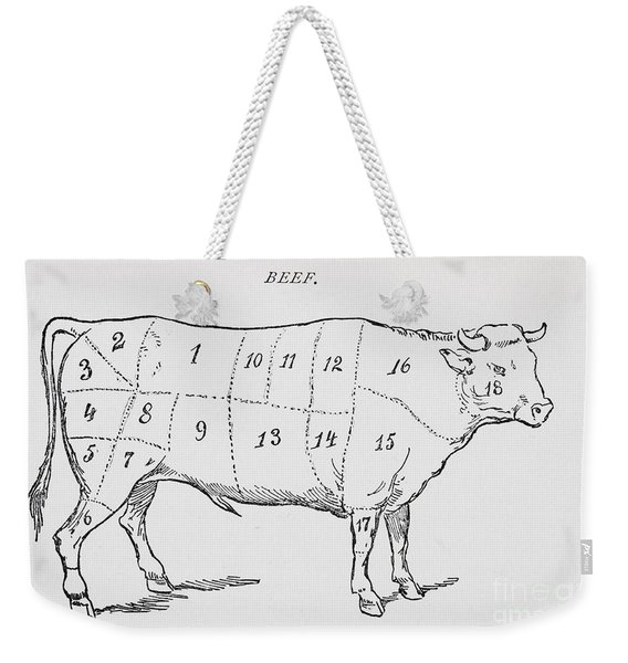 Drawing Of A Bullock Marked To Show Eighteen Different Cuts Of Meat Weekender Tote Bag