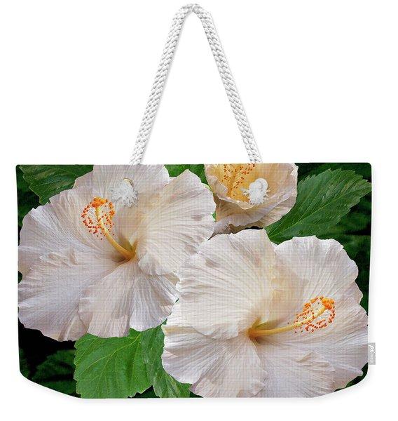 Dreamy Blooms - White Hibiscus Weekender Tote Bag