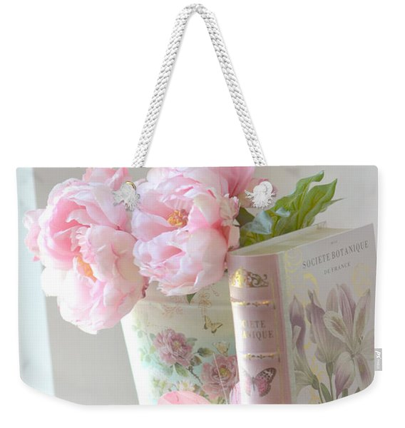 Dreamy Shabby Chic Pink Peonies And Books - Romantic Cottage Peonies Floral Art With Pink Books Weekender Tote Bag