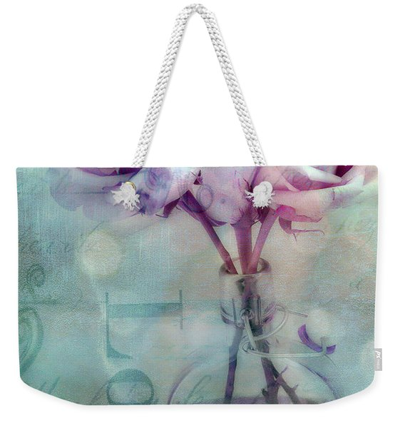 Roses Dreamy Shabby Chic Pink Roses Teal Aqua Impressionistic Cottage Pink Aqua Teal Love Roses Weekender Tote Bag