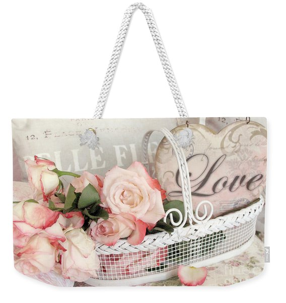 Dreamy Shabby Chic Roses In Cottage White Basket - Roses And Love Heart Weekender Tote Bag