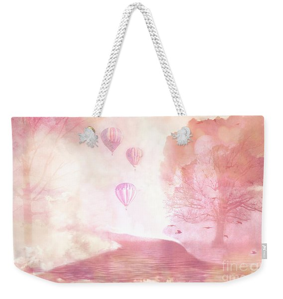 Dreamy Surreal Fantasy Fairytale Pastel Hot Air Balloons Dreamland Nature Fantasy Art Weekender Tote Bag