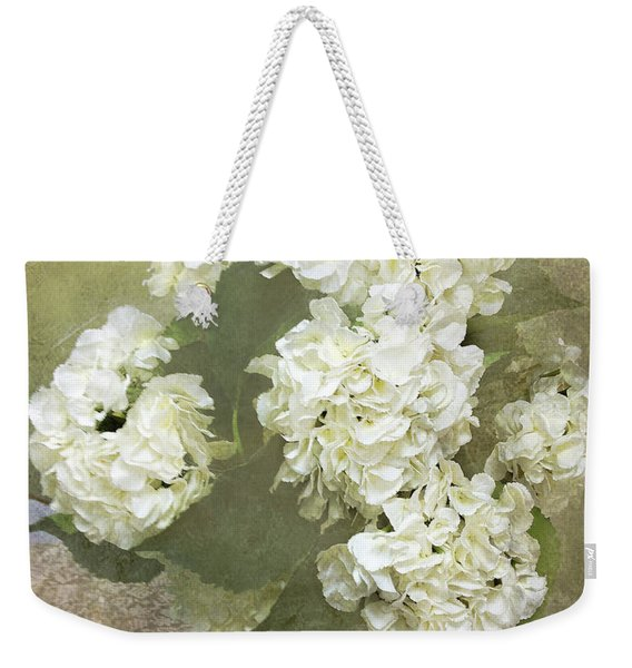 Hydrangea Floral Vintage Cottage Chic White Hydrangeas - Shabby Chic Dreamy White Floral Art  Weekender Tote Bag