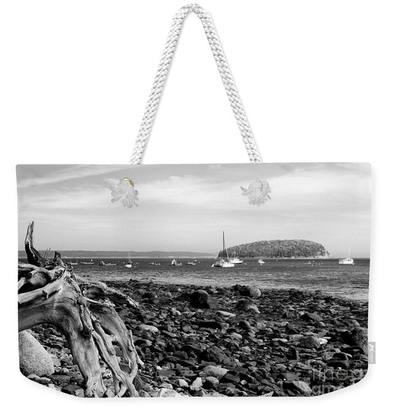 Weekender Tote Bag featuring the photograph Driftwood And Harbor by Jemmy Archer
