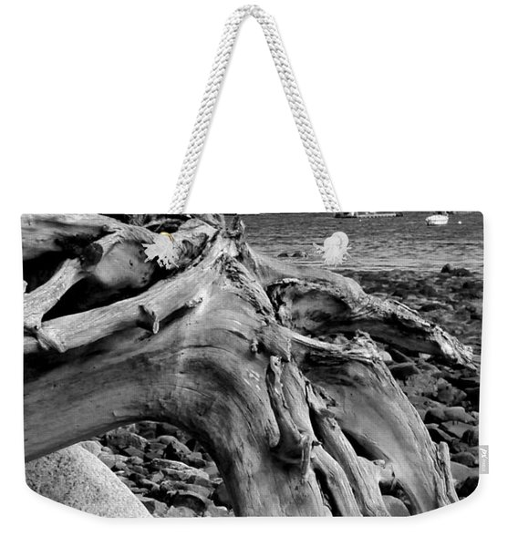 Weekender Tote Bag featuring the photograph Driftwood On Rocky Beach by Jemmy Archer