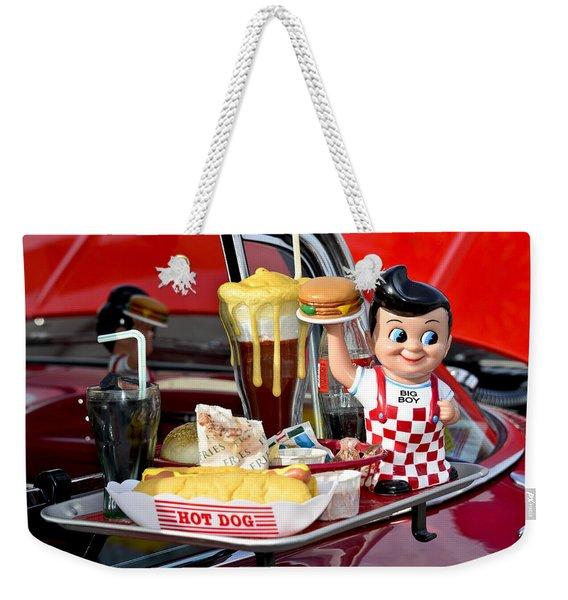 Weekender Tote Bag featuring the photograph Drive-in Food Classic by Carolyn Marshall