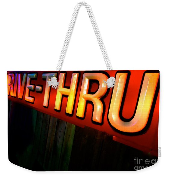 Weekender Tote Bag featuring the photograph Drive Thru by Jacqueline Athmann