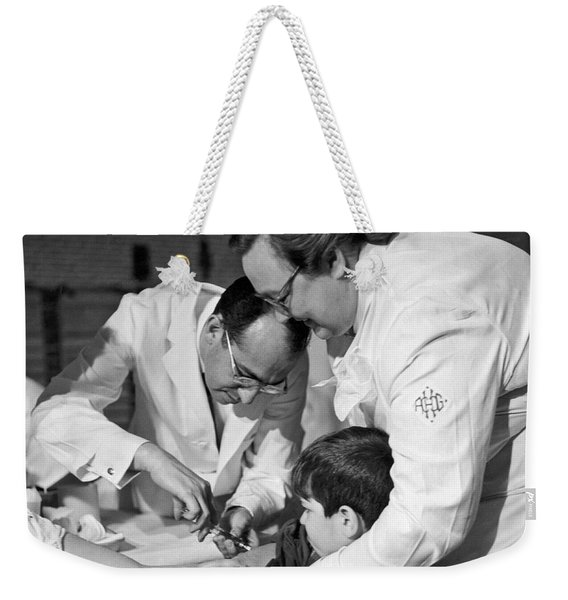 Dr.jonas Salk Giving Vaccine Weekender Tote Bag