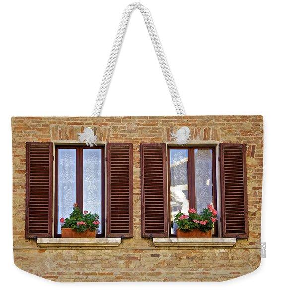 Dueling Windows Of Tuscany Weekender Tote Bag