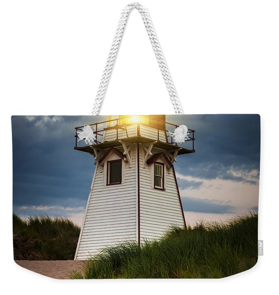 Dusk At Covehead Harbour Lighthouse Weekender Tote Bag