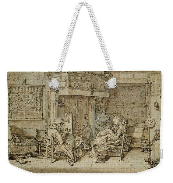 Dutch Interior, 1617 Pen, Ink And Brush On Paper Weekender Tote Bag
