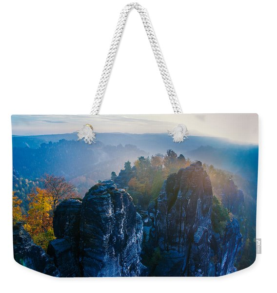 Early Morning Mist At The Bastei In The Saxon Switzerland Weekender Tote Bag