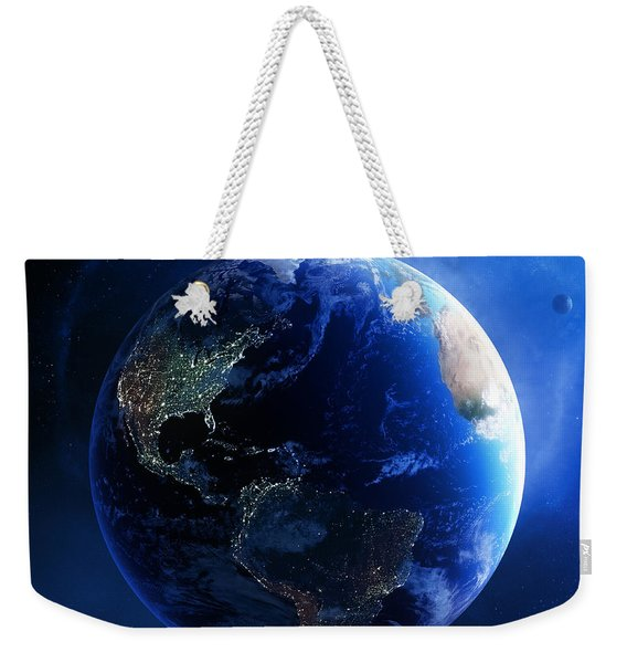 Earth And Galaxy With City Lights Weekender Tote Bag