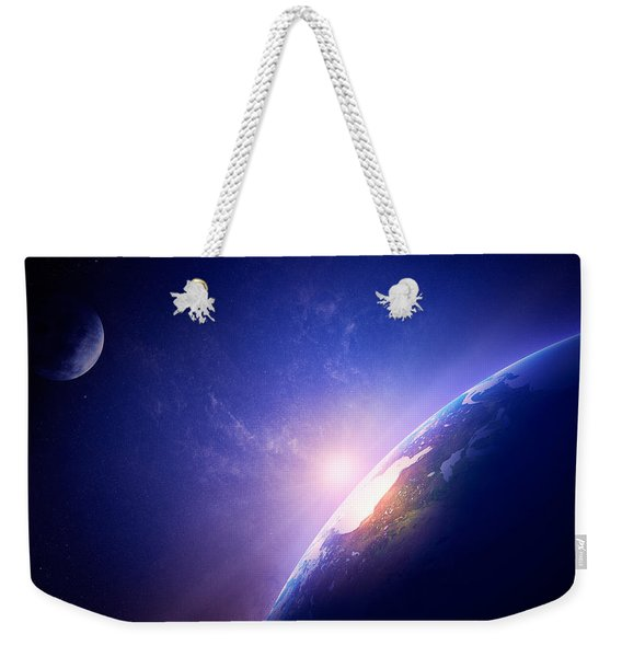Earth Sunrise In Foggy Space Weekender Tote Bag