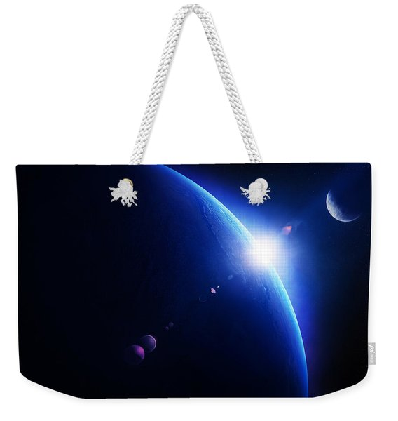 Earth Sunrise With Moon In Space Weekender Tote Bag