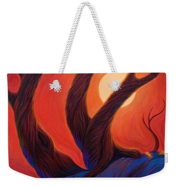 Weekender Tote Bag featuring the painting Earth  Wind  Fire by Sandi Whetzel