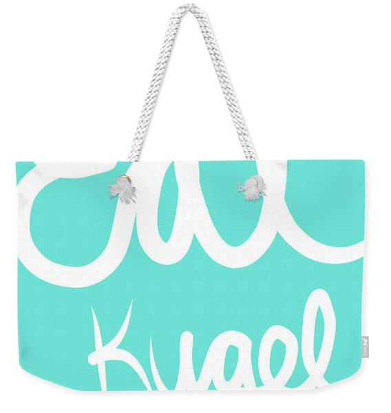 Eat Kugel - Blue And White Weekender Tote Bag