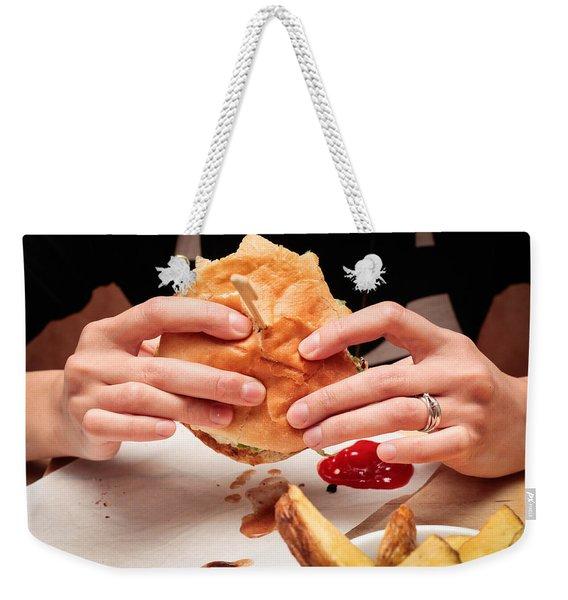 Eating Burger Weekender Tote Bag