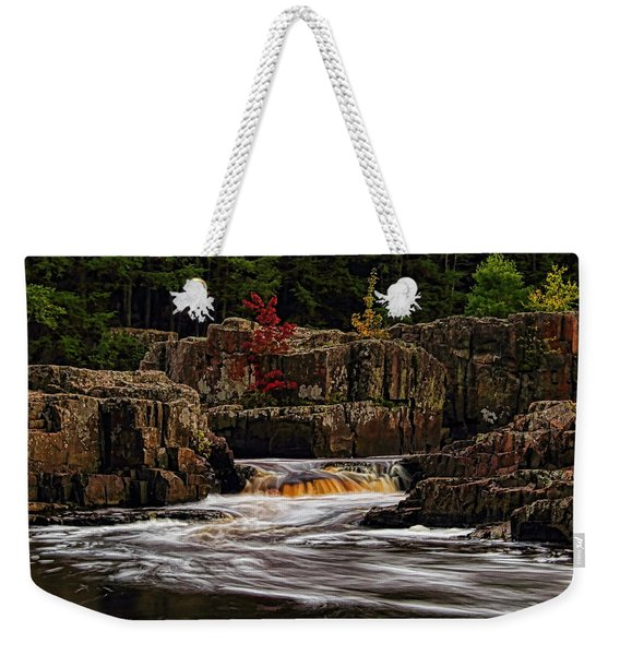 Waterfall Under Colored Leaves Weekender Tote Bag