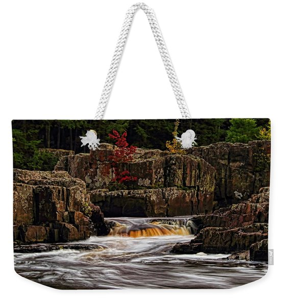 Waterfall Under Colored Leaves Weekender Tote Bag