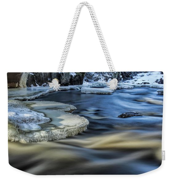 Eau Claire River Ice Weekender Tote Bag