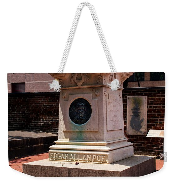 Weekender Tote Bag featuring the photograph Edgar Allan Poe Tomb by Bill Swartwout Photography