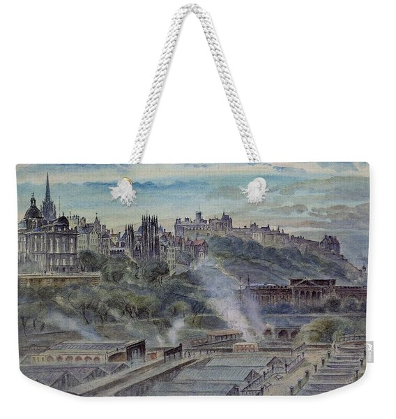 Edinburgh From Near St. Anthonys Chapel On The North-west Shoulder Of Arthurs Seat, 19th Century Weekender Tote Bag