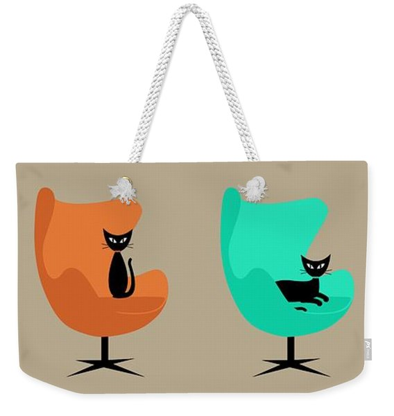 Weekender Tote Bag featuring the digital art Egg Chairs by Donna Mibus