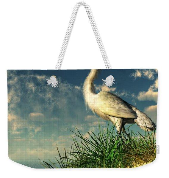 Egret In The Dunes Weekender Tote Bag