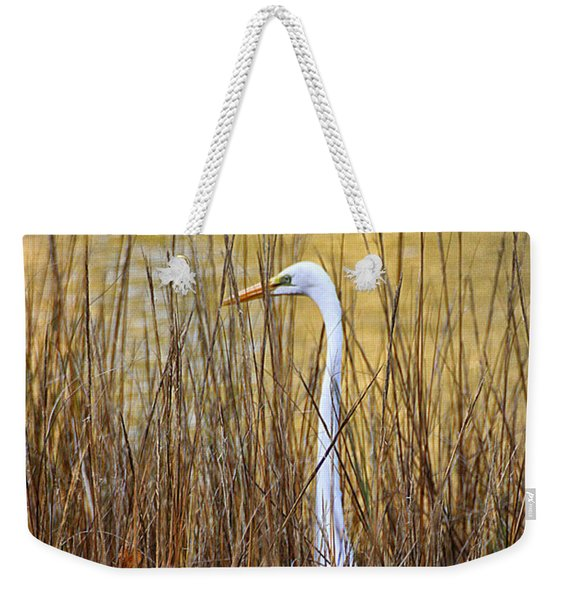 Weekender Tote Bag featuring the photograph Egret In The Grass by William Selander