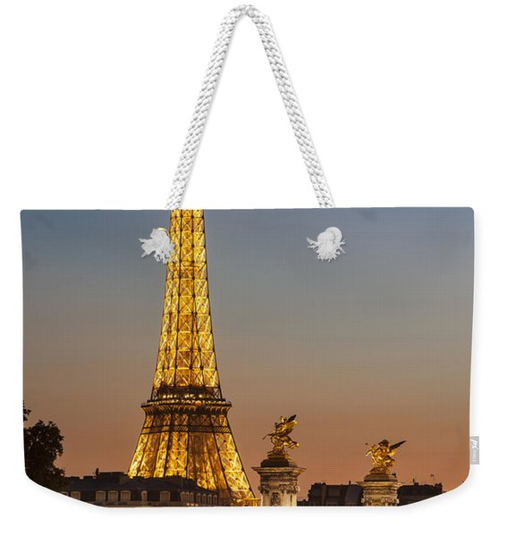 Weekender Tote Bag featuring the photograph Eiffel At Twilight by Brian Jannsen