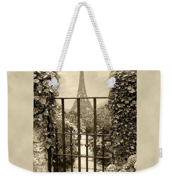 Eiffel Garden Sepia Weekender Tote Bag