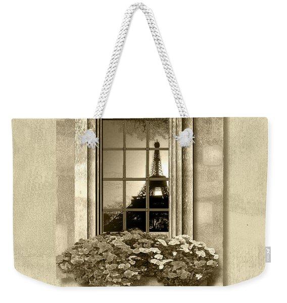 Eiffel Reflection In Sepia Weekender Tote Bag