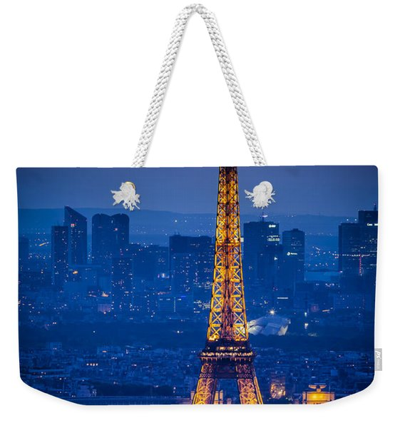 Weekender Tote Bag featuring the photograph Eiffel Tower At Twilight by Brian Jannsen