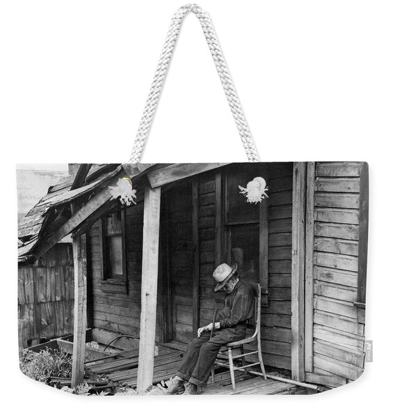 Elderly Man Doses On His Porch Weekender Tote Bag