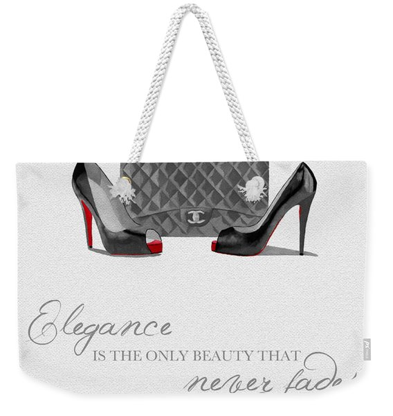 Elegance Never Fades Black And White Weekender Tote Bag