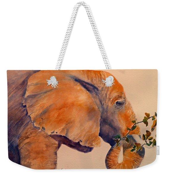 Elephant Eating Weekender Tote Bag