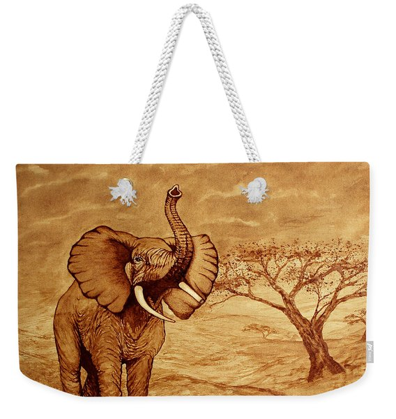 Elephant Majesty Original Coffee Painting Weekender Tote Bag
