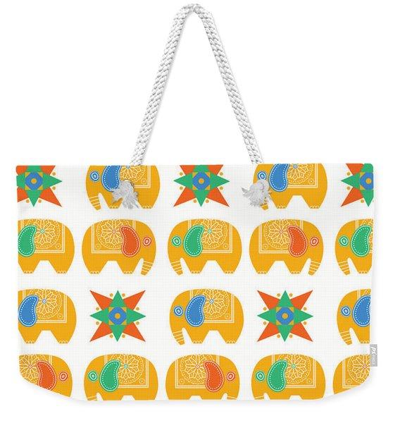 Elephant Print Weekender Tote Bag