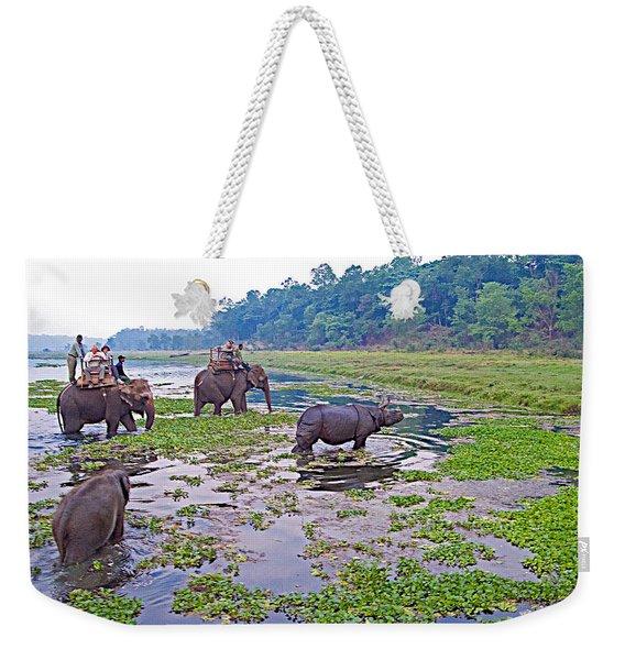 Elephants And Black Rhinoceros In The Rapti River In Chitwan Np-nepal Weekender Tote Bag