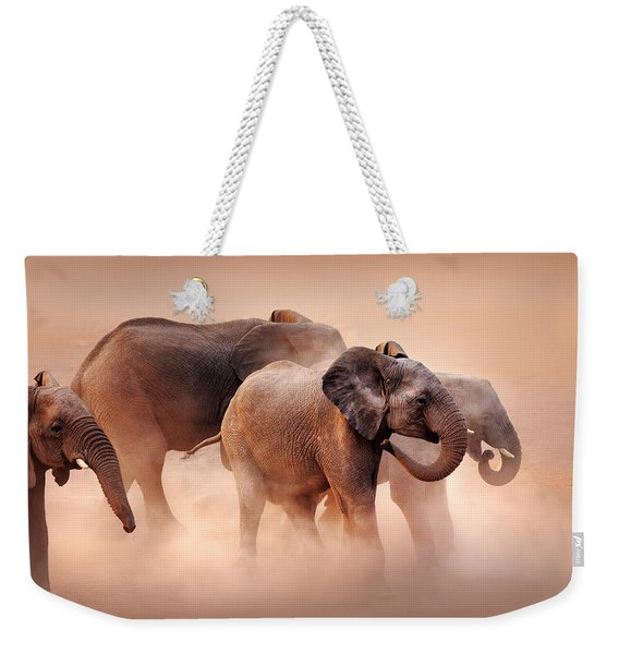 Elephants In Dust Weekender Tote Bag