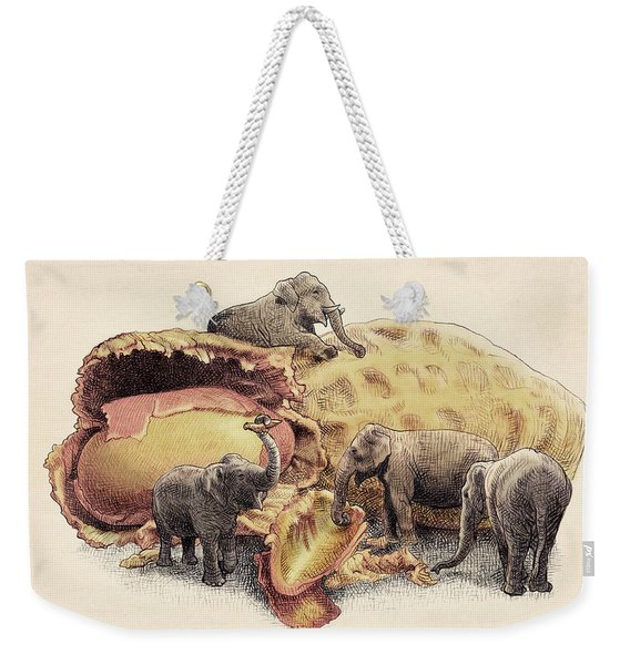 Elephant's Paradise Weekender Tote Bag