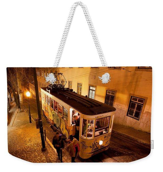 Elevador Da Gloria At Night In Lisbon Weekender Tote Bag