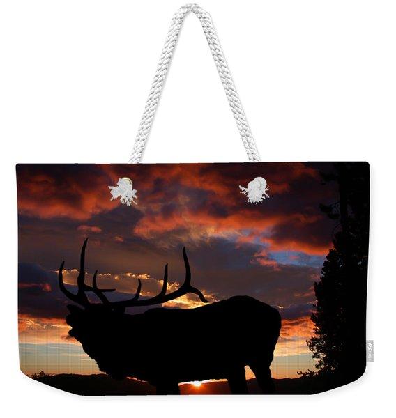 Elk At Sunset Weekender Tote Bag